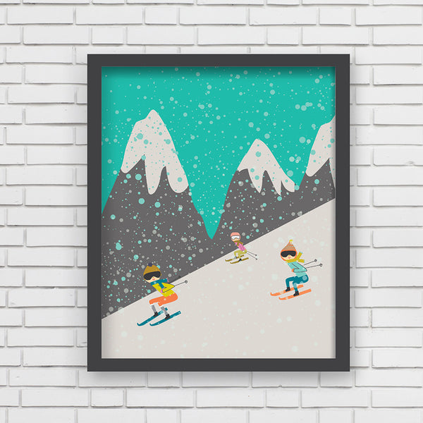 All Aboard: Let's Go Skiing! Art Print