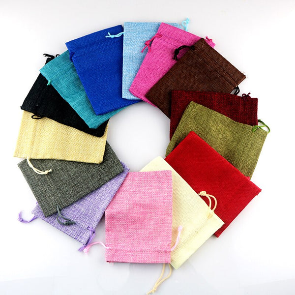 10pcs Mixed Color Burlap Bags With Drawstrings Gifts Bags -Size: 5''X 7''
