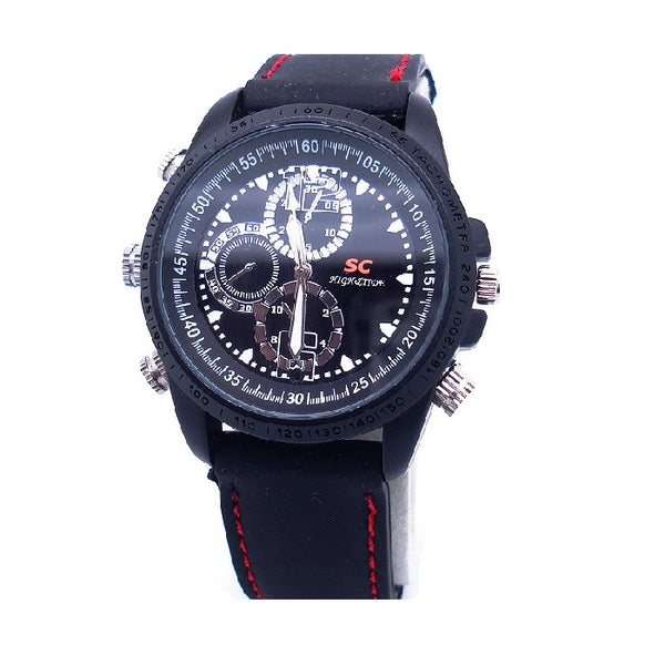 Waterproof Leather Rubber Camera Watch (Motion Detection)