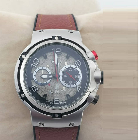 Hublot Classic Fusion Ferrari GT King Silver Brown Leather Watch