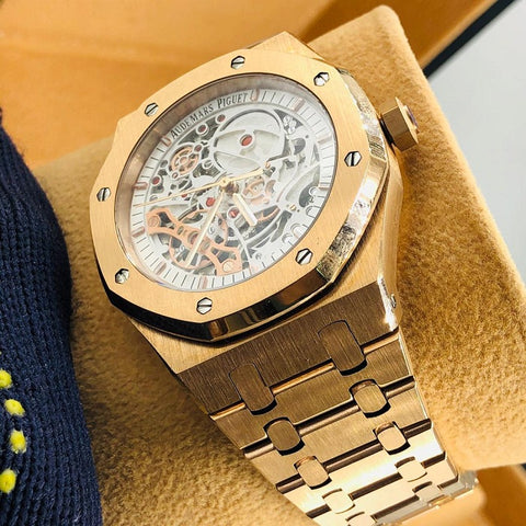 Audemars Piguet Royal Oak Double Balance Wheel Openworked Gold Watch White Dial