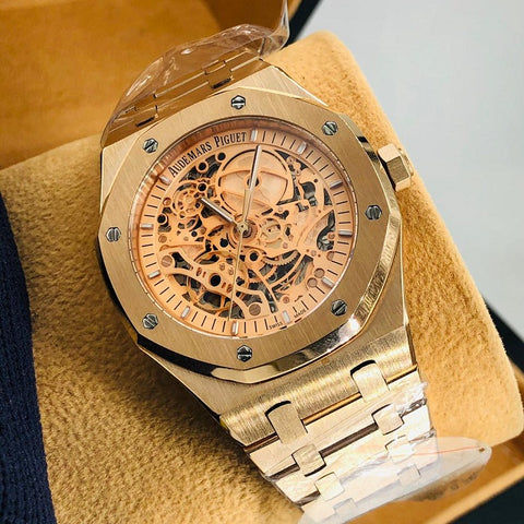 Audemars Piguet Royal Oak Double Balance Wheel Openworked Gold Watch Gold Dial