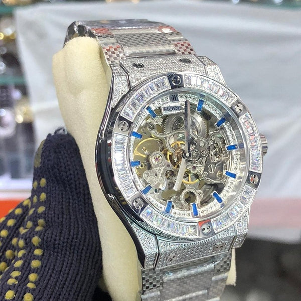 Hublot Skeleton Silver Chain Gents Watch