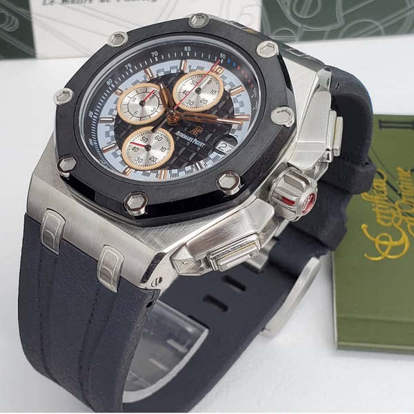 Audemars Piguet Royal Oak Offshore Chronograph Silver On Rubber Strap