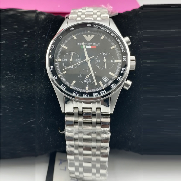 Emporio Armani Chronograph Silver Chain Watch