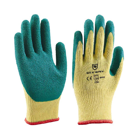 12 Pairs Rubber Palm Coated Work Safety Gloves
