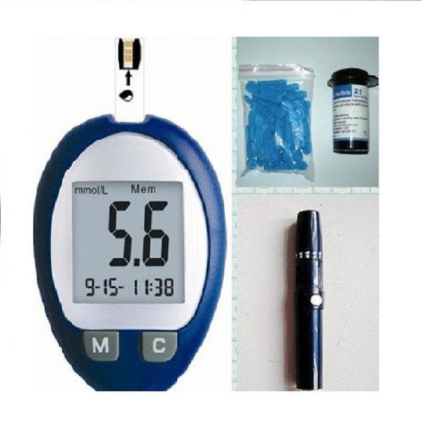Blood glucose monitoring system with 25pcs test strips and 25pcs lancets