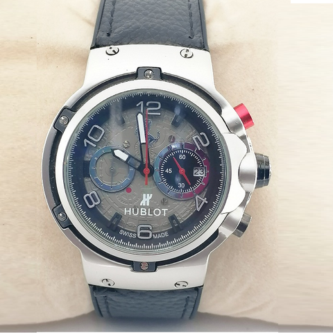 Hublot Classic Fusion Ferrari GT King Silver Black Leather Watch