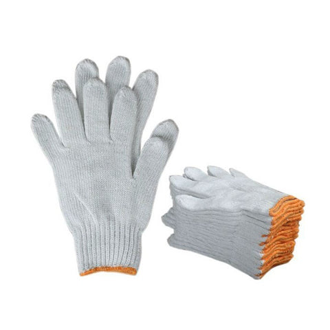 Cotton Knitted Safety Hand Gloves White(Pack of 12)