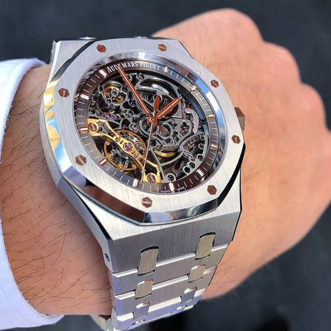 Audemars Piguet Royal Oak Double Balance Wheel Openworked Silver Watch