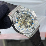 Hublot Skeleton Stone Round Silver Leather Watch