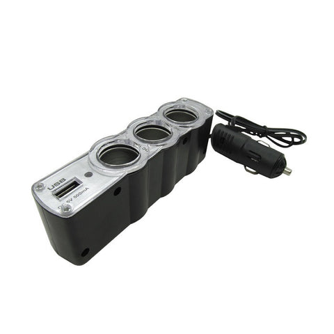 3 Way Usb 12v Car Cigaratte Lighter Socket Adapter Splitter