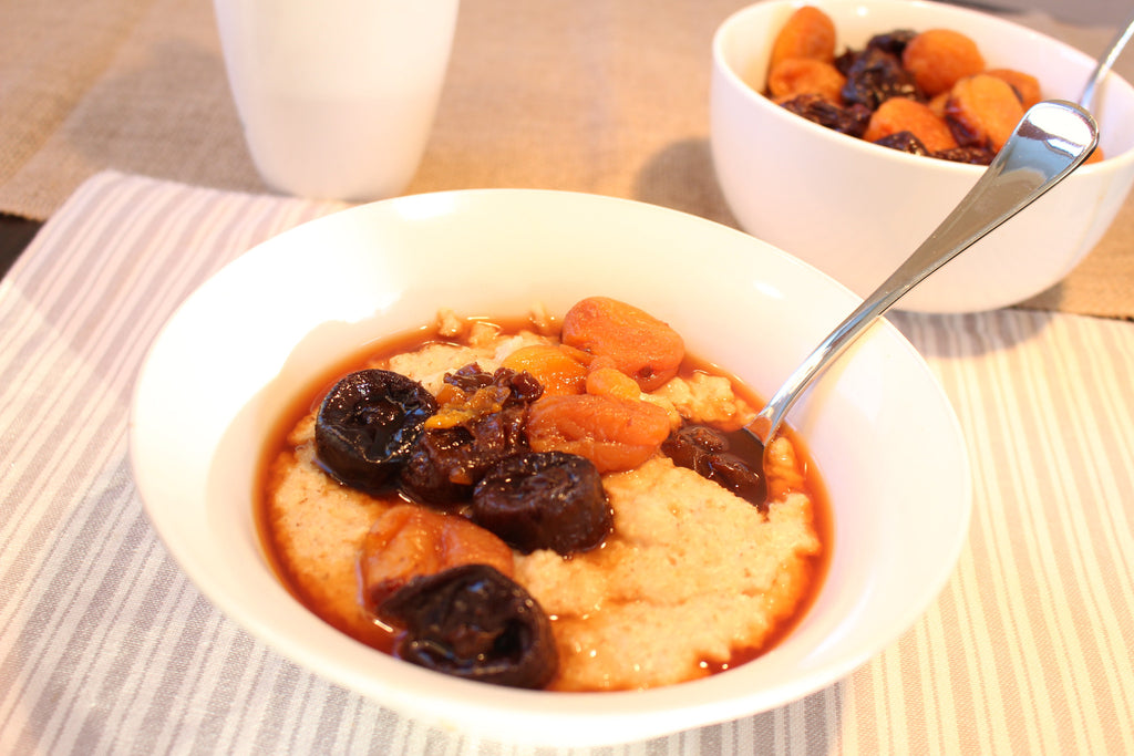 Stewed Dried Fruit on Porridge