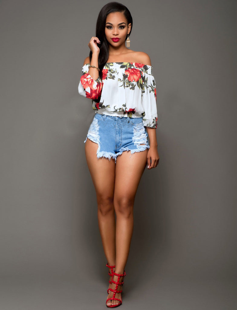 Women's Floral Prints Off Shoulder T Shirt Tops