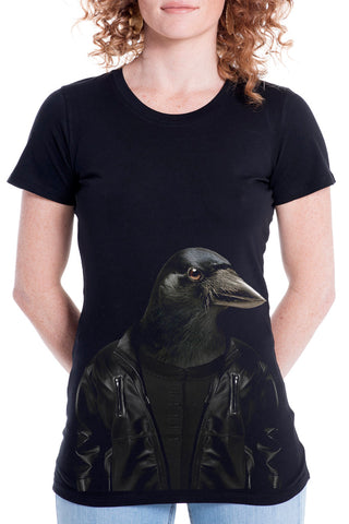 Women's Crow T-Shirt - Fitted Tee, Black