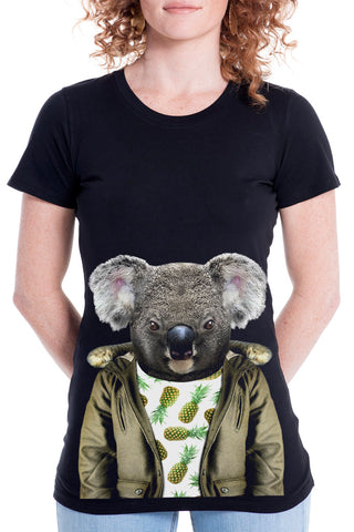Women's Koala T-Shirt - Fitted Tee, Black