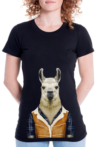 Women's Llama T-Shirt - Fitted Tee, Black