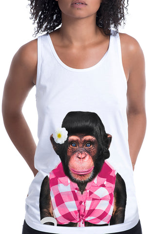 Women's Monkey Female Singlet, White