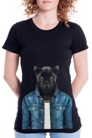 Women's Panther Male T-Shirt - Fitted Tee, Black