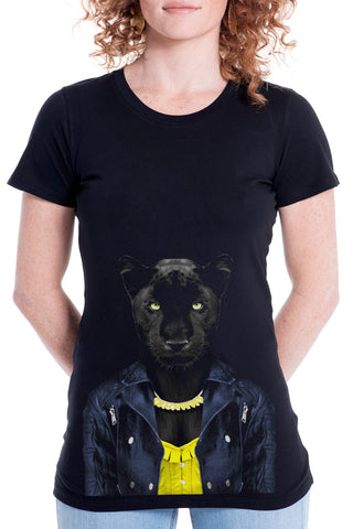 Women's Panther Female T-Shirt - Fitted Tee, Black