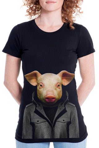 Women's Pig T-Shirt - Fitted Tee, Black