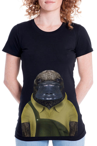 Women's Platypus T-Shirt - Fitted Tee, Black