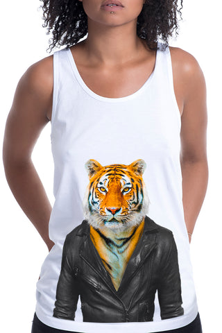 Women's Tiger Singlet, White