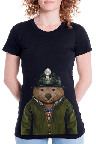 Women's Wombat T-Shirt - Fitted Tee, Black