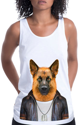 Women's German Shepherd Singlet, White