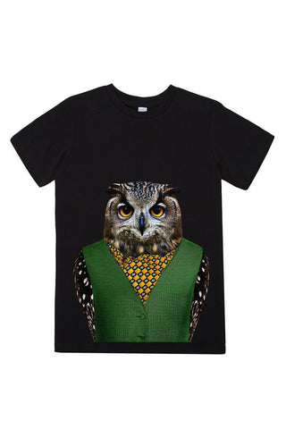kids owl t shirt black