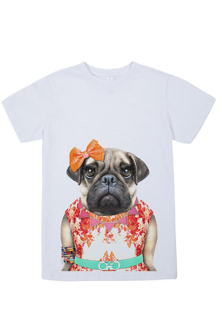 Kids Miss Pug T-Shirt - Kid's Tee, White