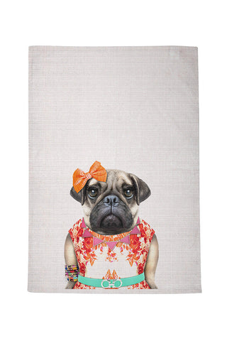 Miss Pug Tea Towel