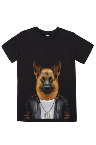 Kids German Shepherd T-Shirt - Kid's Tee, Black