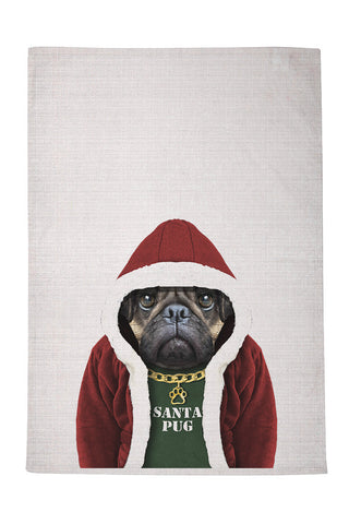 Santa Pug Tea Towel
