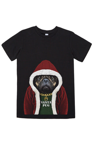 Kids Santa Pug T-Shirt - Kid's Tee, Black