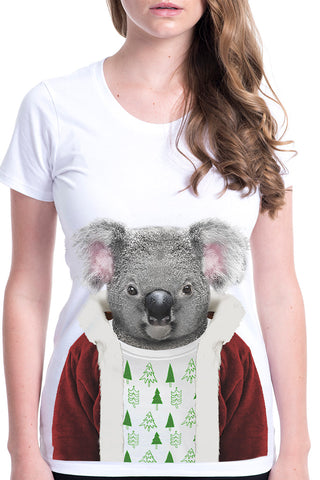 Women's Christmas Koala T-Shirt - Fitted Tee, White