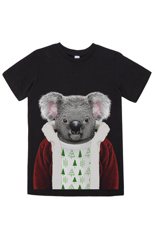 Kids Christmas Koala T-Shirt - Kid's Tee, Black