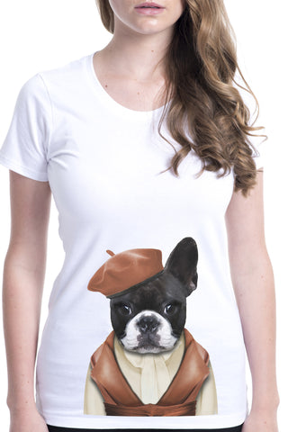 women's french bulldog t-shirt white