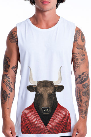 Men's Bull Muscle Tank, White
