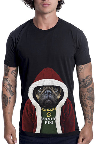 Men's Santa Pug T-Shirt - Classic Tee, Black