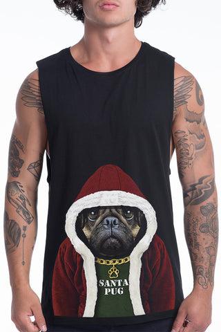 Men's Santa Pug Muscle Tank, Black