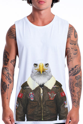 Men's Eagle Muscle Tank, White