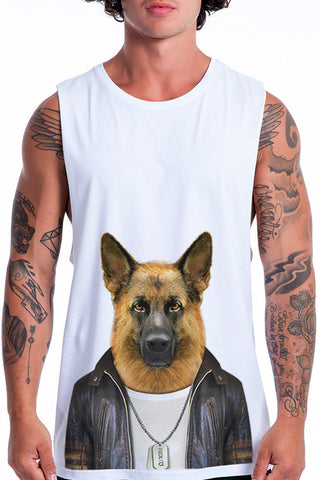 Men's German Shepherd Muscle Tank, White