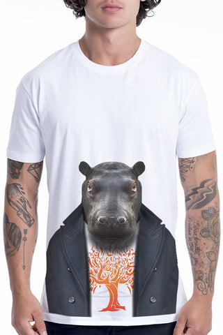 Men's Hippo T-Shirt - Classic Tee, White
