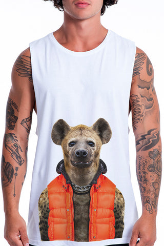 Men's Hyena Muscle Tank, White