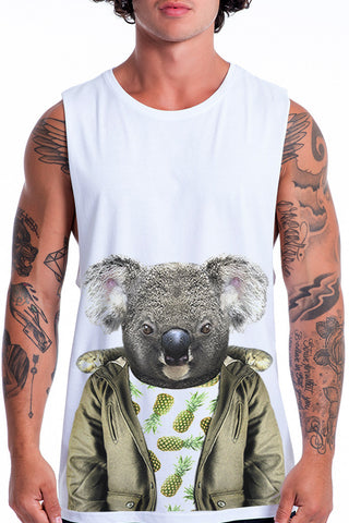 Men's Koala Muscle Tank, White