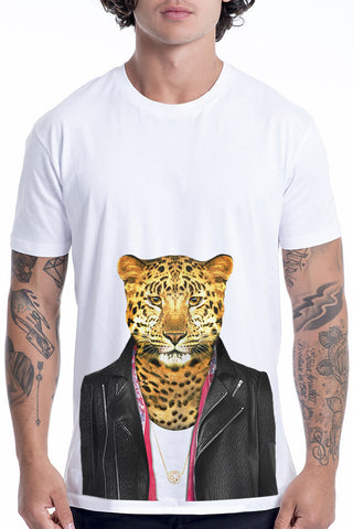 Men's Leopard T-Shirt - Classic Tee, White
