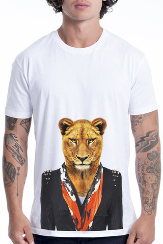Men's Lioness T-Shirt - Classic Tee, White