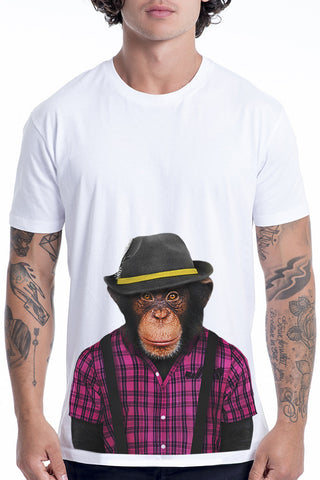 Men's Monkey Male T-Shirt - Classic Tee, White