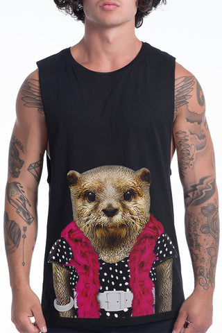 Men's Otter Muscle Tank, Black